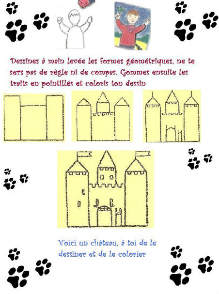 Dessine un chateau - Chateau fort facile a dessiner ...